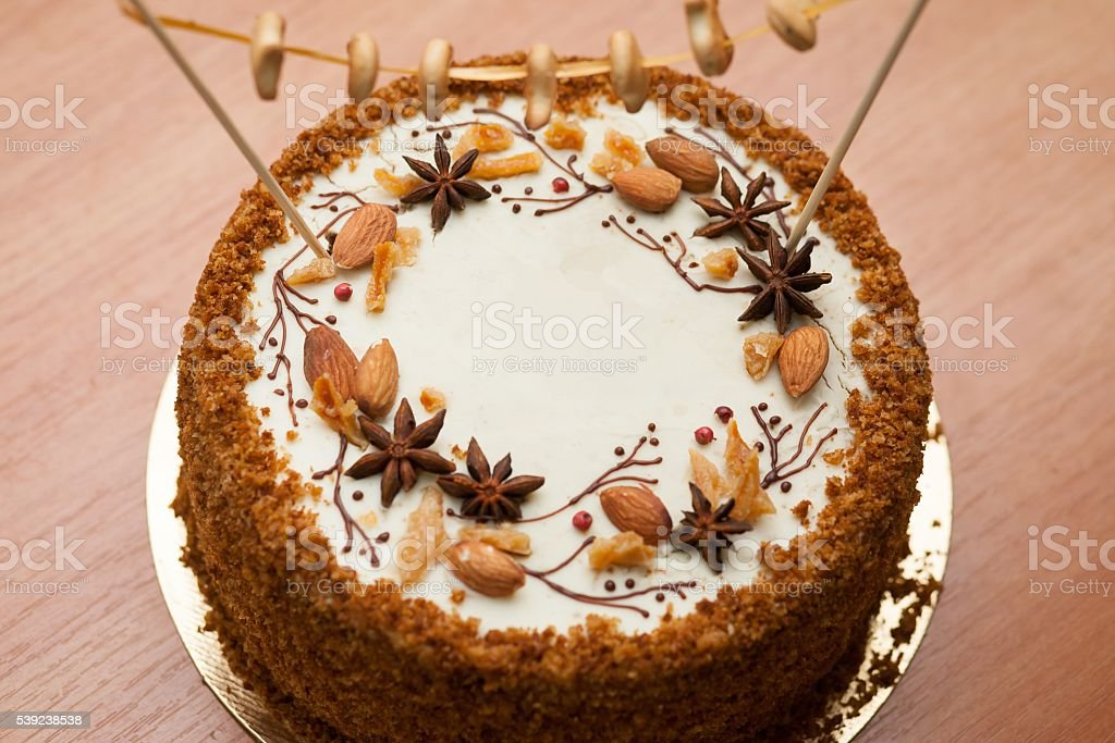 Homemade honey cake with spices royalty-free stock photo