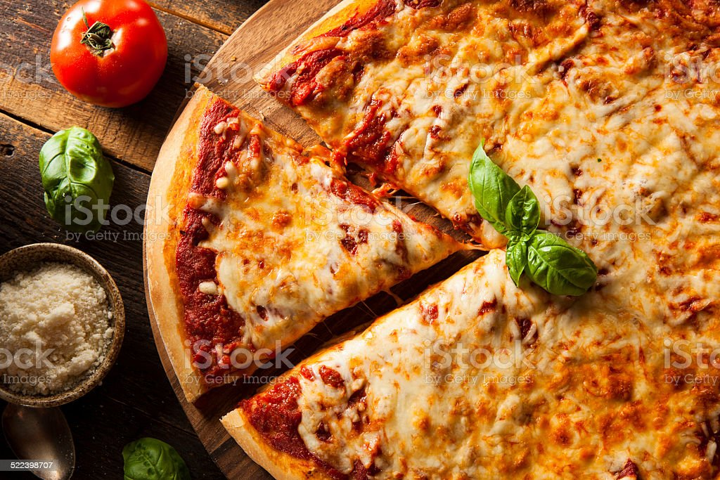 Homemade Hot Cheese Pizza stock photo