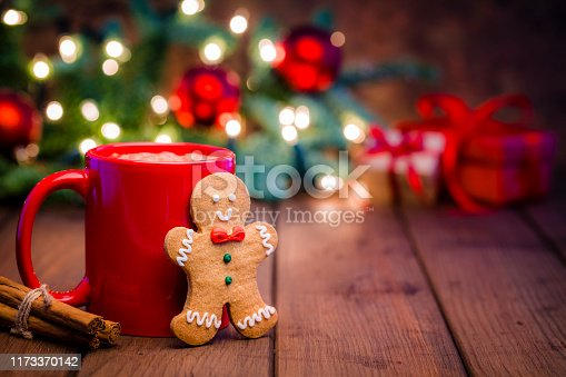 Homemade hot chocolate mug with and Christmas cookie shot on rustic wooden Christmas table. Yellow Christmas lights and Christmas decoration complete the composition. Predominant colors are red and brown. Low key DSRL studio photo taken with Canon EOS 5D Mk II and Canon EF 100mm f/2.8L Macro IS USM