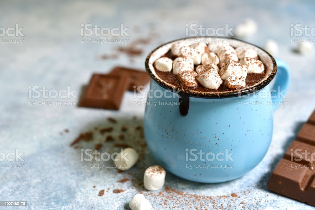 Homemade hot chocolate with mini marshmallow stock photo