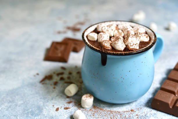 homemade hot chocolate with mini marshmallow - hot chocolate stock photos and pictures