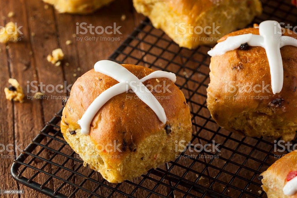 Homemade Hot Cross Buns stock photo