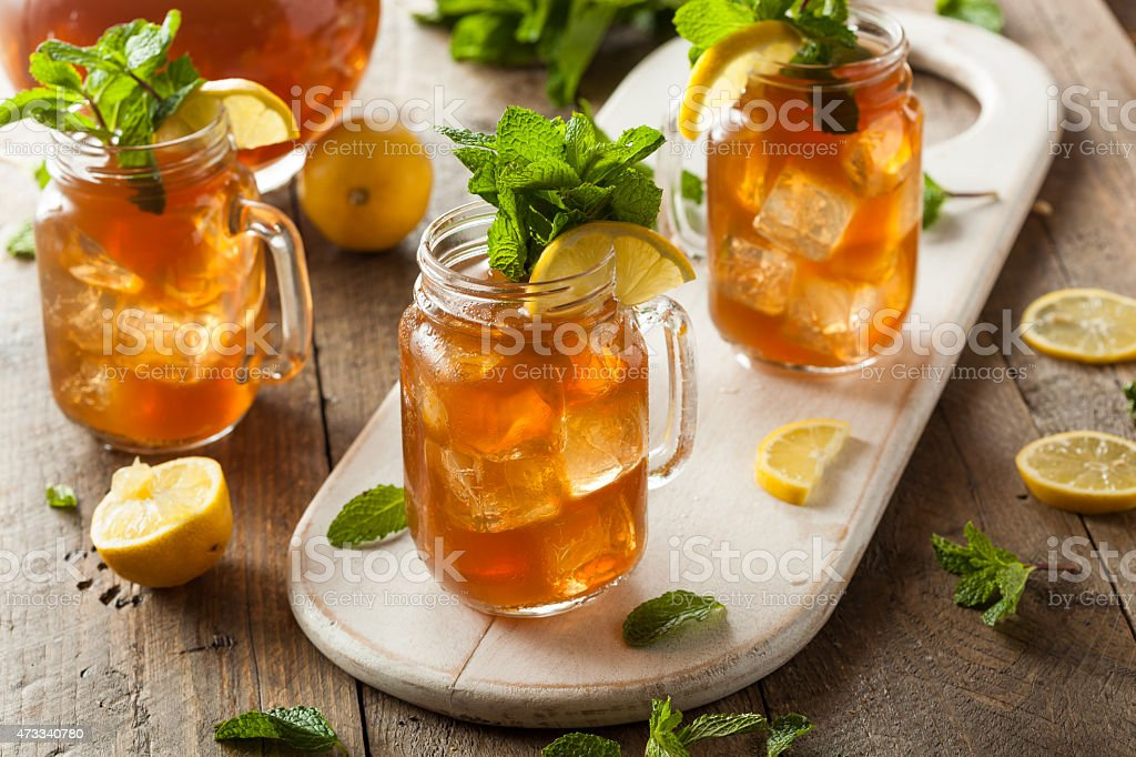 Homemade iced tea and lemonade stock photo