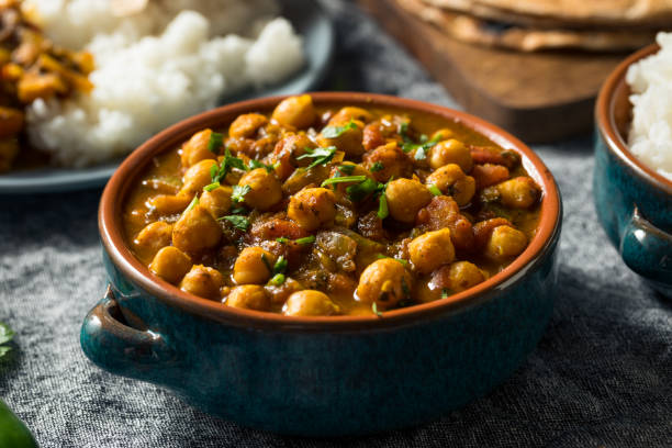 Homemade Indian Chickpea Chana Masala stock photo