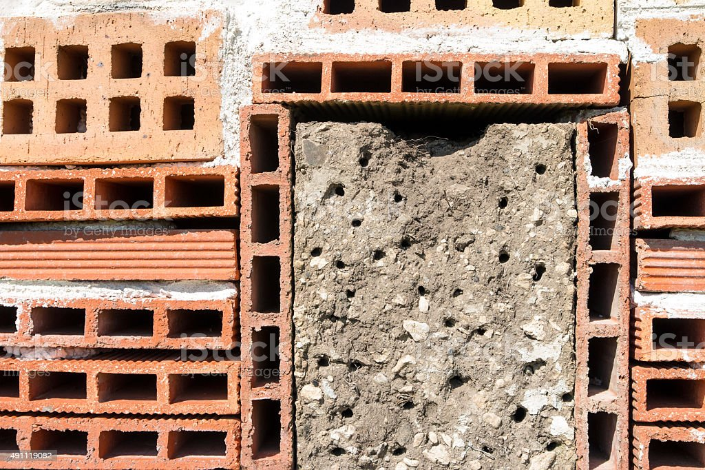 homemade insects hotel house close up in garden with red bricks royalty free stock