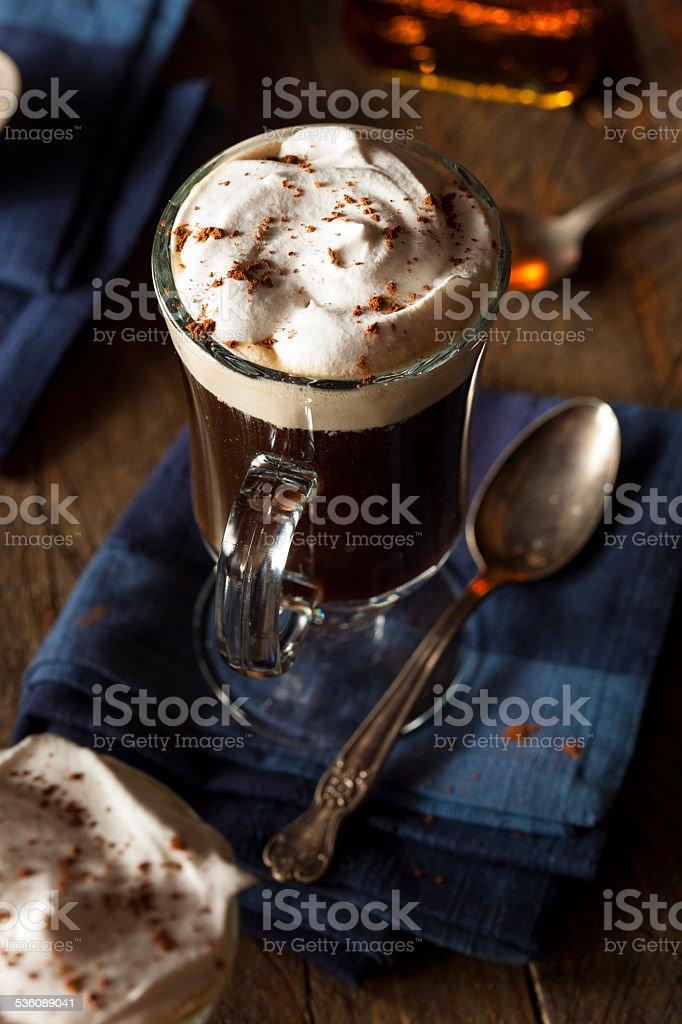Homemade Irish Coffee with Whiskey stock photo