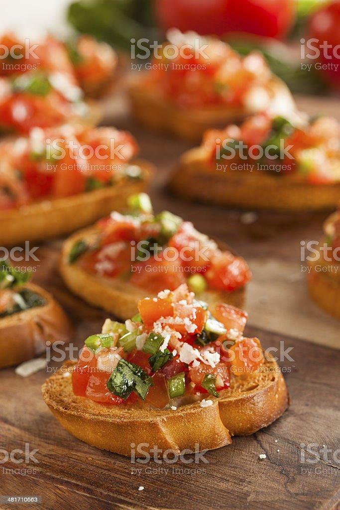 Homemade Italian Bruschetta Appetizer stock photo