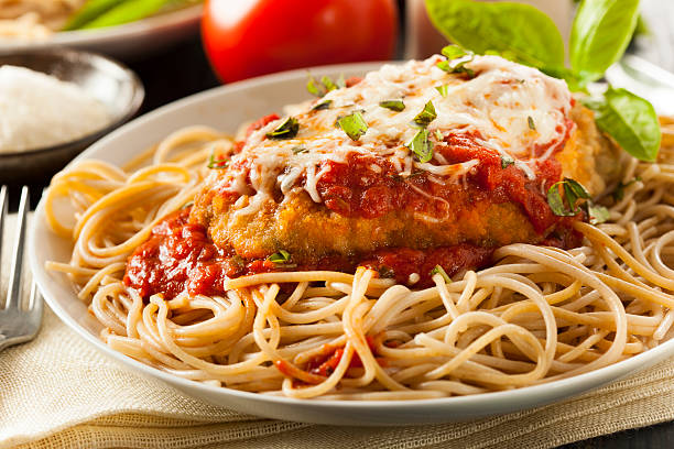 homemade italian chicken parmesan - parmesan stock photos and pictures