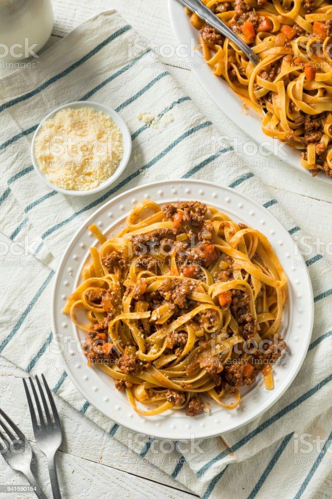 Homemade Italian Ragu Sauce and Pasta stock photo