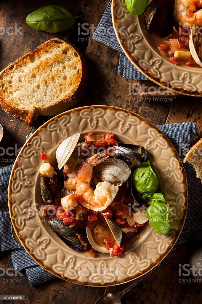 Homemade Italian Seafood Cioppino stock photo