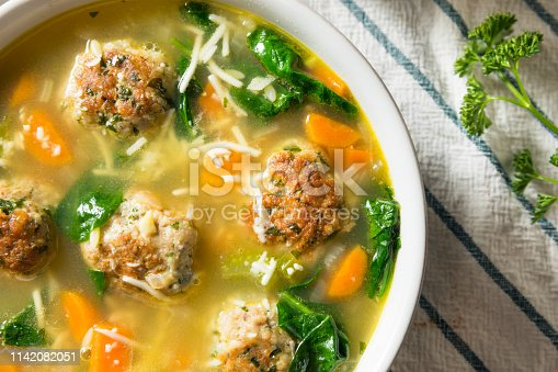 Homemade Italian Wedding Soup with Spinach and Meatballs