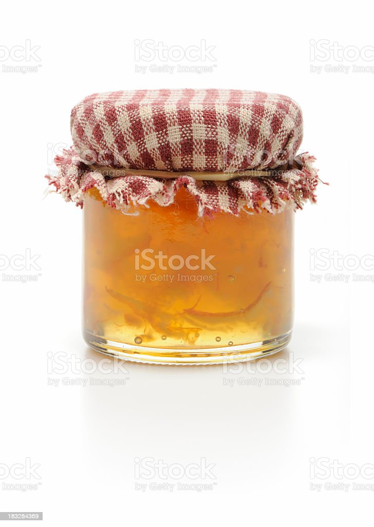 Homemade jar of marmalade isolated in white royalty-free stock photo