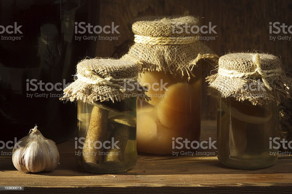 Homemade jar with vegetables in larder royalty-free stock photo