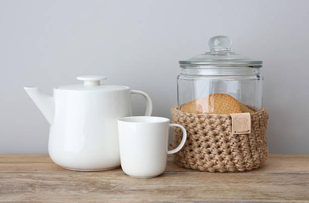 Homemade Jute Crochet Cookie Jar With Teapot and Mug