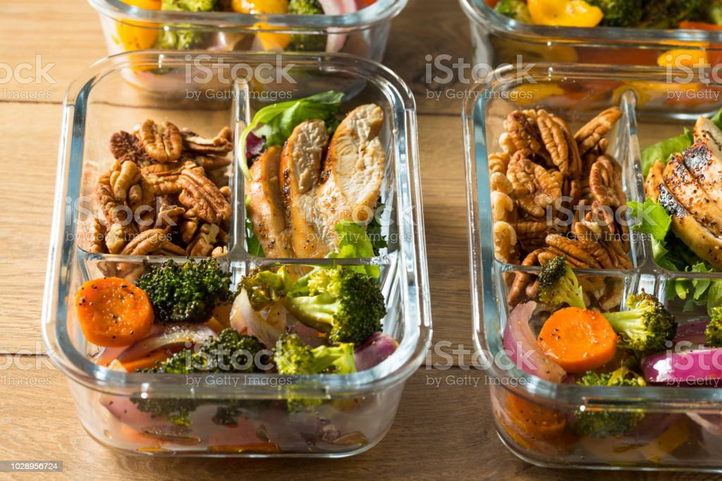 Homemade Keto Chicken Meal Prep royalty-free stock photo