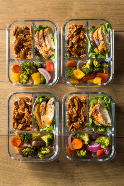 Homemade Keto Chicken Meal Prep Homemade Keto Chicken Meal Prep with Veggies in a Container preparing food stock pictures, royalty-free photos & images