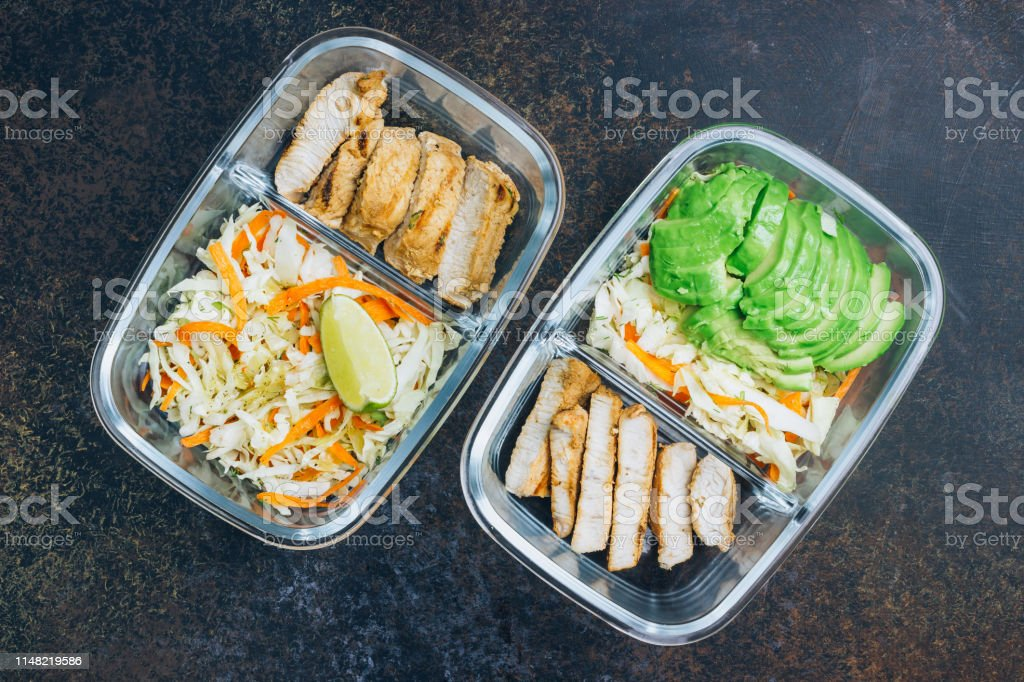 Homemade Keto lunchbowl. Turkey meat and coleslaw salads in a...