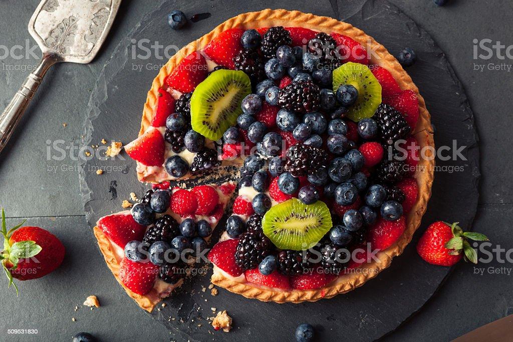 Homemade Key Lime Fruit Tart stock photo