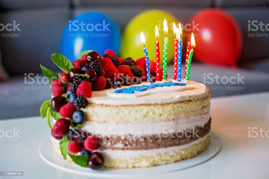 Astounding Homemade Kids Birthday Cake With Lots Of Fruits On Top Cherries Funny Birthday Cards Online Overcheapnameinfo