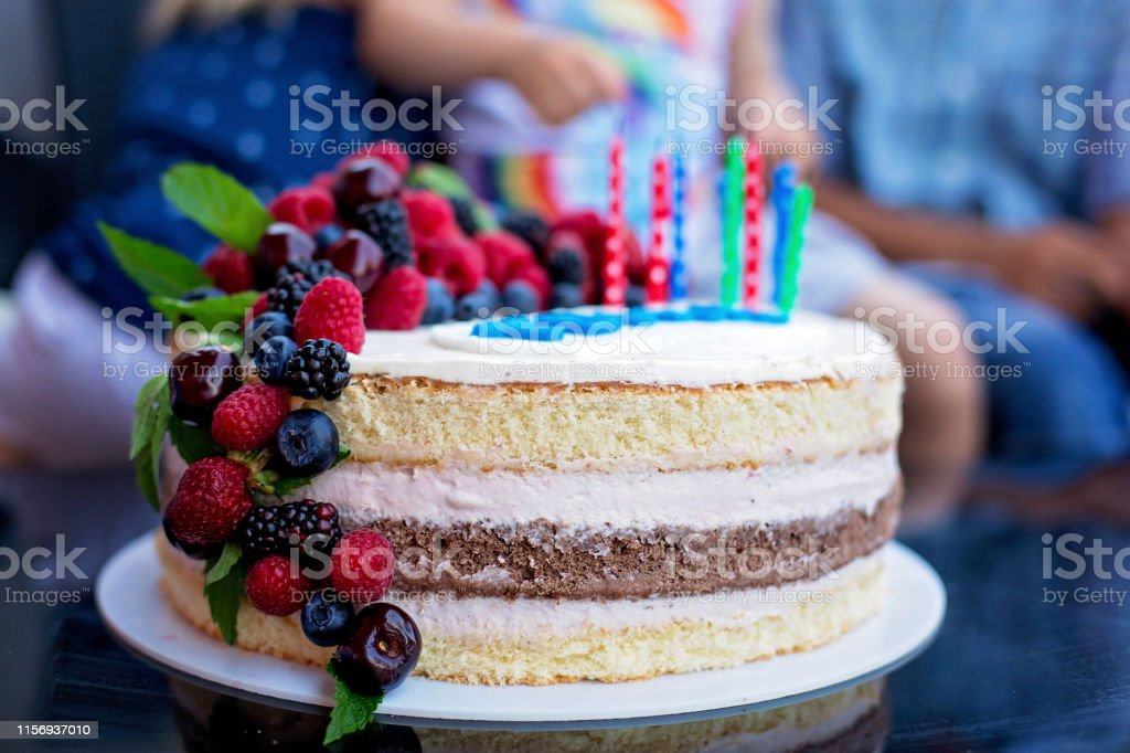 Swell Homemade Kids Birthday Cake With Lots Of Fruits On Top Cherries Funny Birthday Cards Online Alyptdamsfinfo