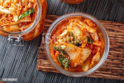Kimchee in glass jar