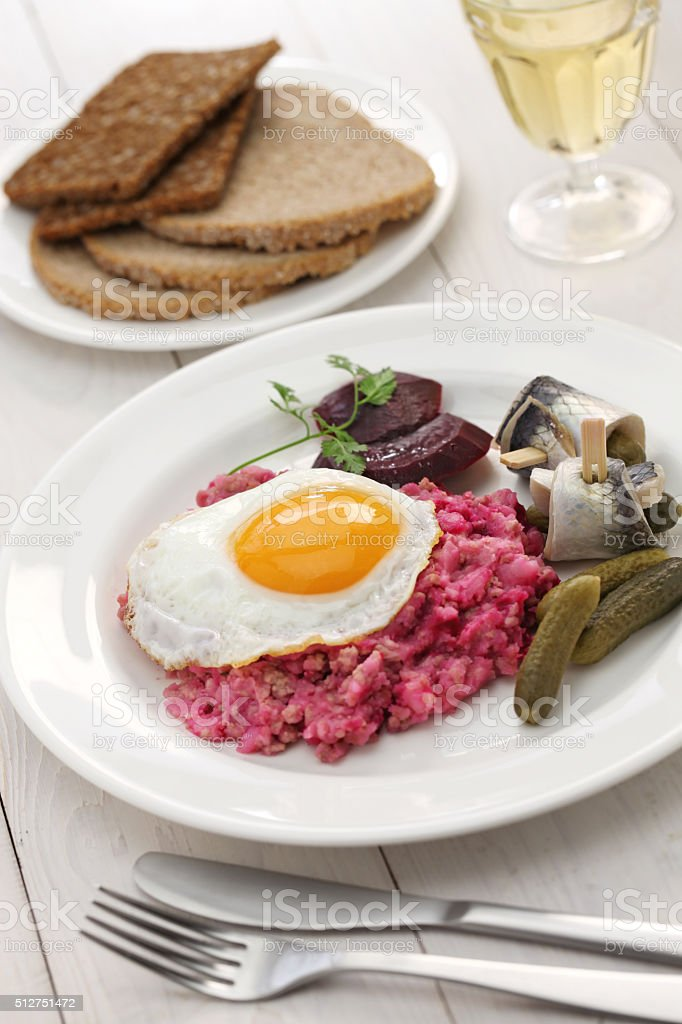homemade labskaus, Northern Germany cuisine stock photo