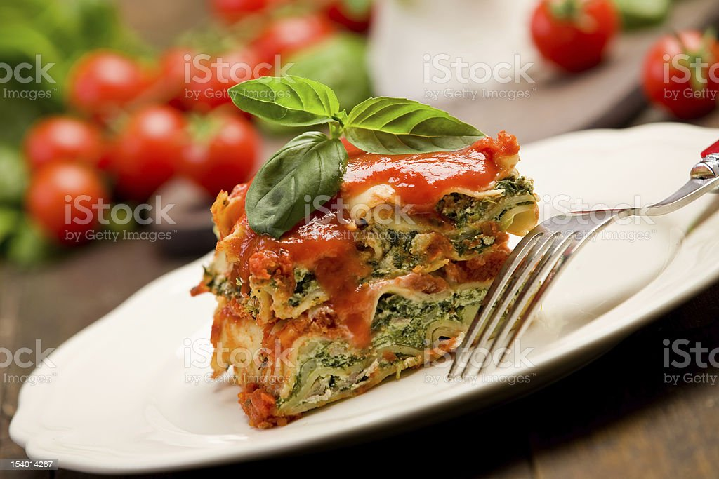 Homemade Lasegne with Ricotta Cheese and Spinach stock photo