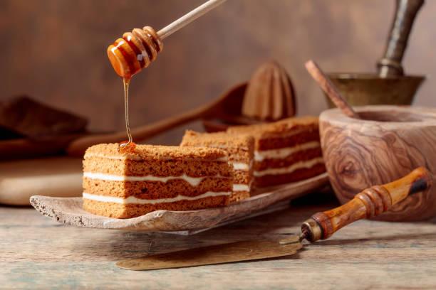 Homemade layered honey cake. stock photo