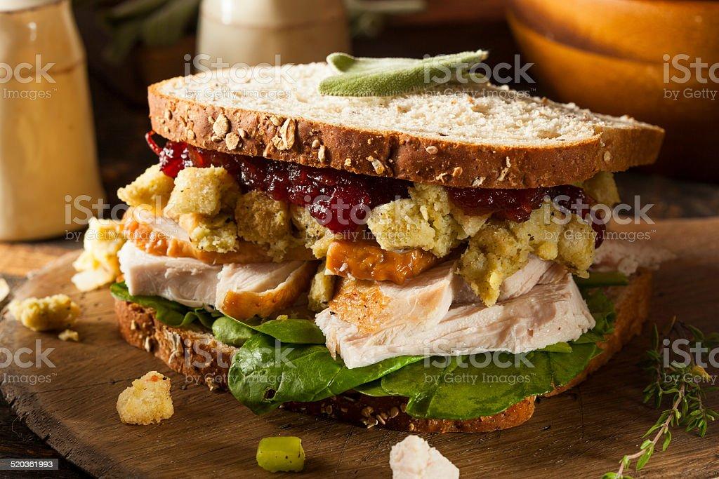 Homemade Leftover Thanksgiving Dinner Turkey Sandwich stock photo