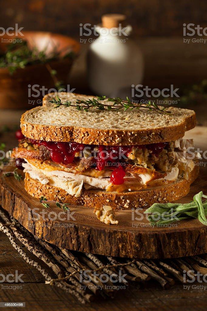 Homemade Leftover Thanksgiving Sandwich stock photo