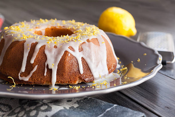 Homemade lemon cake with icing stock photo