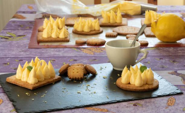 Homemade lemon tart with Menton's lemon stock photo