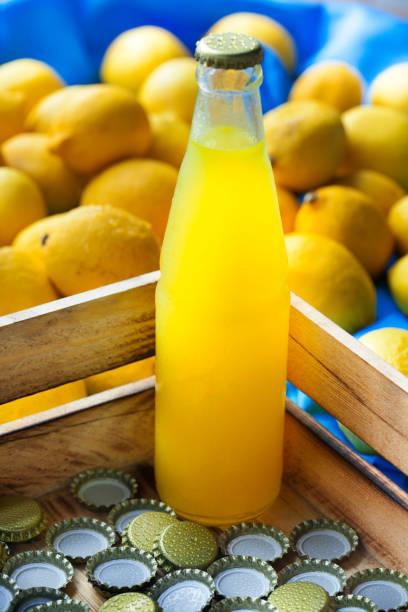 hausgemachte limonade - picknick tisch kühler stock-fotos und bilder