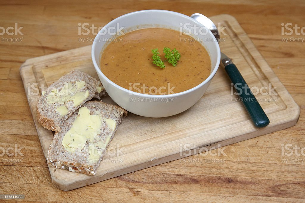 Homemade lentil soup royalty-free stock photo