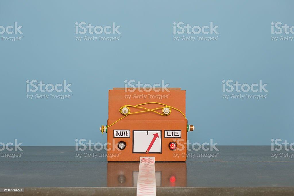 Homemade Lie Detector Machine Signals Lie stock photo