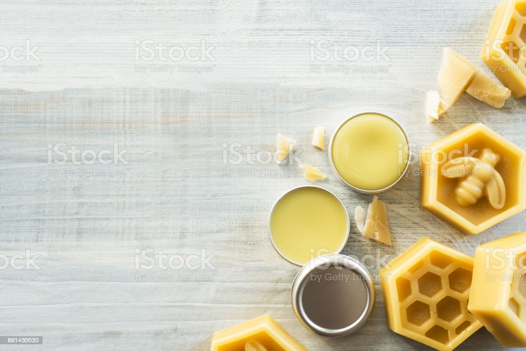 homemade lip balm stock photo