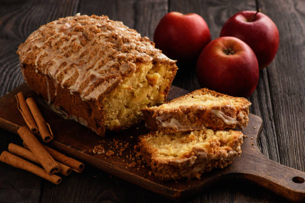 Homemade loaf of apple bread. stock photo