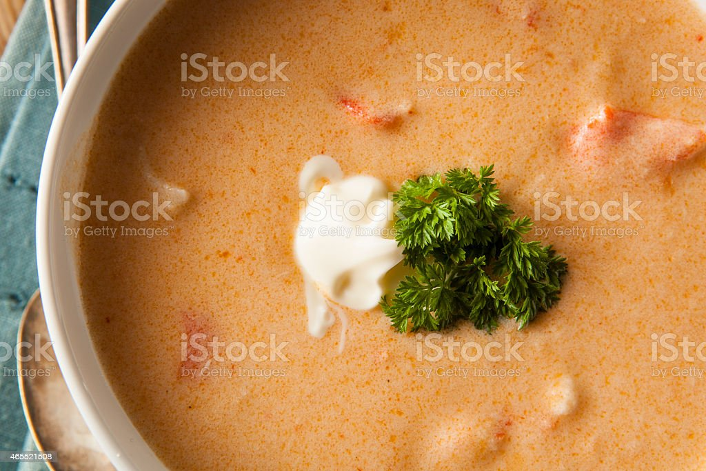 Homemade Lobster Bisque Soup stock photo