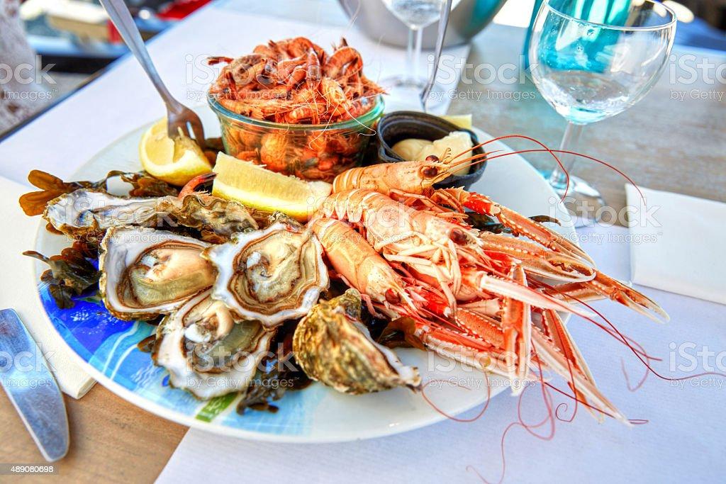 Caseras almuerzo plato de mariscos - foto de stock