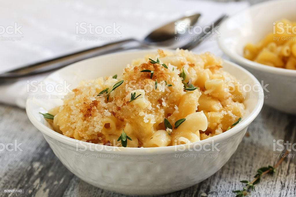 Homemade Mac and cheese, selective focus stock photo