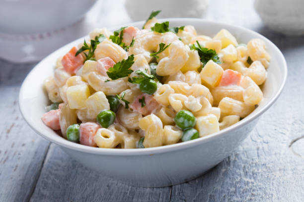 Homemade macaroni salad with vegetables Homemade macaroni salad with elbow pasta, vegetables and mayonnaise dressing macaroni stock pictures, royalty-free photos & images