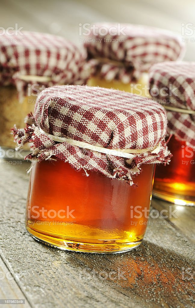 Homemade maple jellies and syrup royalty-free stock photo