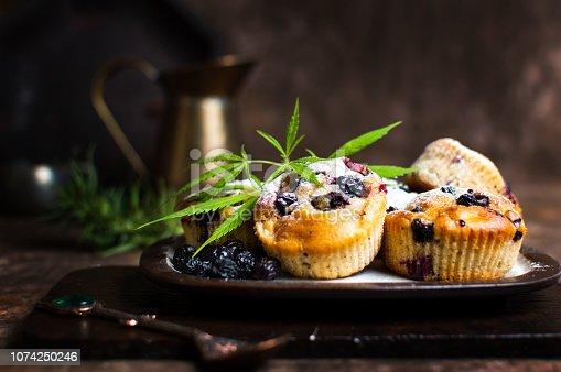 Homemade marijuana muffins with organic berry fruits