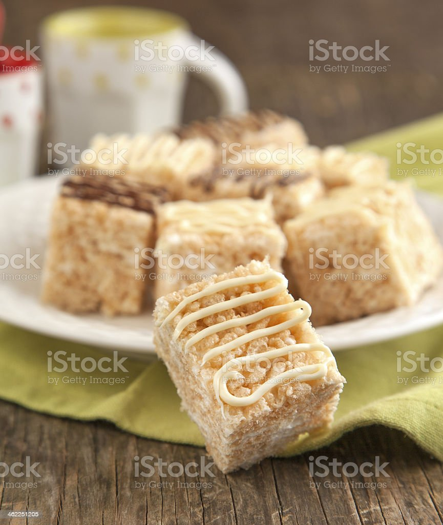 Homemade Marshmallow Rice Crispy Dessert Bar with chocolate stock photo