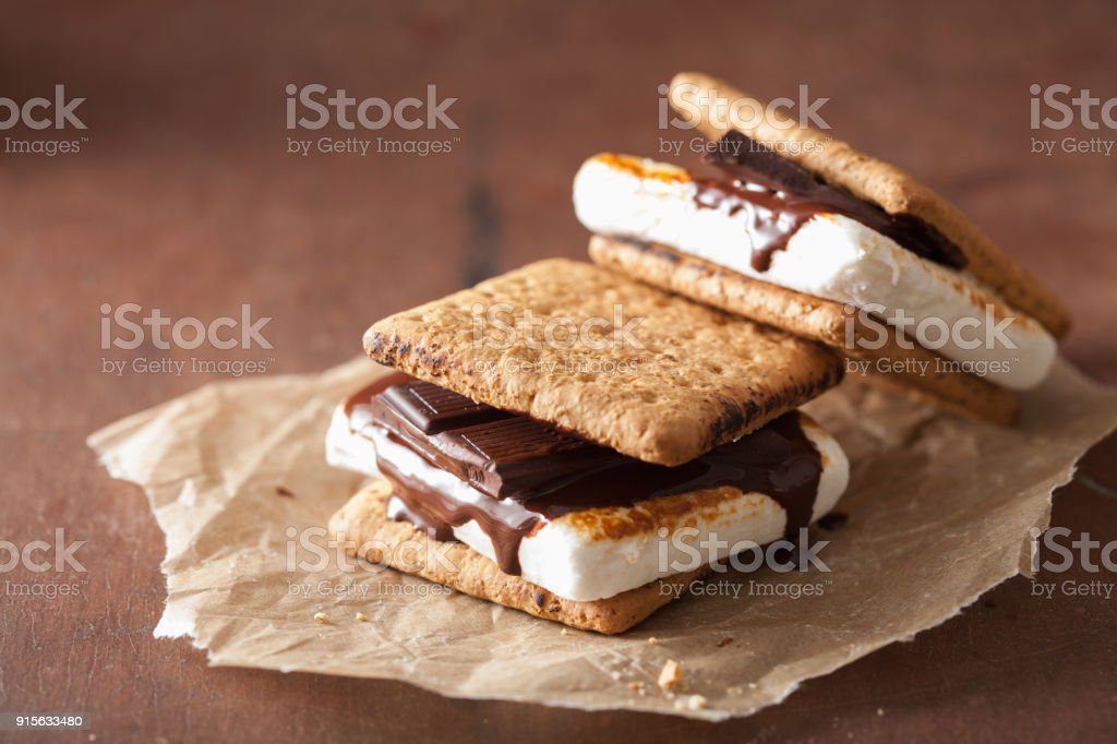 homemade marshmallow s'mores with chocolate on crackers stock photo