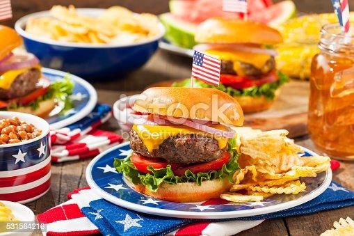 istock Homemade Memorial Day Hamburger Picnic 531564216