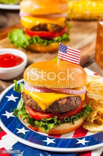 istock Homemade Memorial Day Hamburger Picnic 531564272