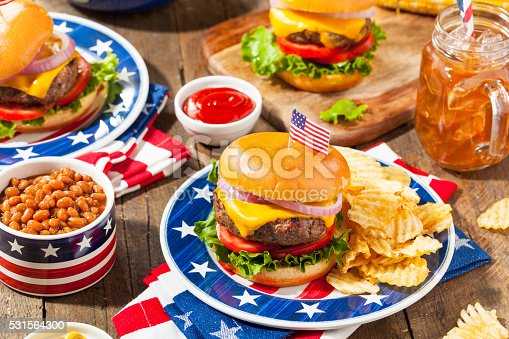 531564432 istock photo Homemade Memorial Day Hamburger Picnic 531564300