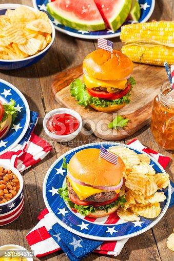 istock Homemade Memorial Day Hamburger Picnic 531564312