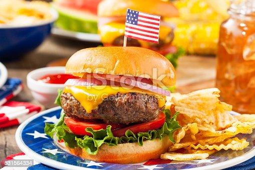 531564432 istock photo Homemade Memorial Day Hamburger Picnic 531564334